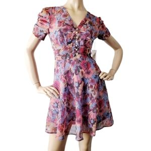 Forever 21 Blue, Red, & Pink Floral Buttoned Dress